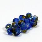 Glasschliffperlen kristall blau-topas durchzogen