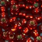 Rocaille 05/0 rot mit Silbereinzug