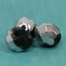 Glasschliffperlen schwarz halb Silber