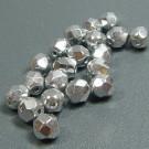 Glasschliffperlen Silberglanz